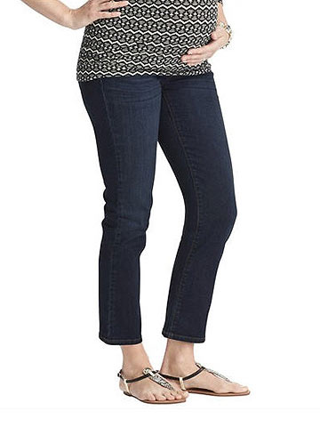 Ann Taylor Loft Maternity Modern Straight Cropped Jeans in Crisp Blue Wash