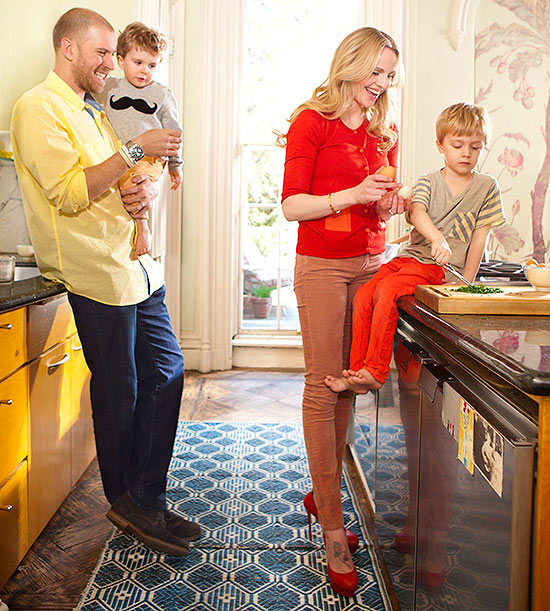 Rosie Pope and family in the kitchen