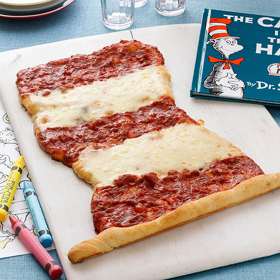 The Cat in the Hat and a themed pizza