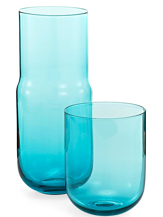 jewel-toned glass carafe