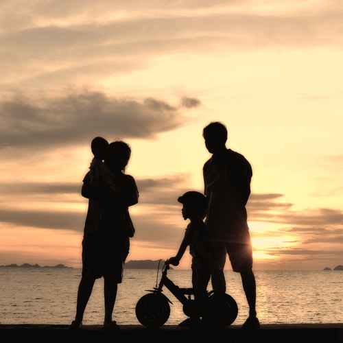 Silhouette of family on a beach