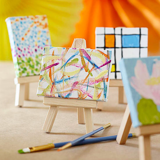 Mini paintings on mini easels