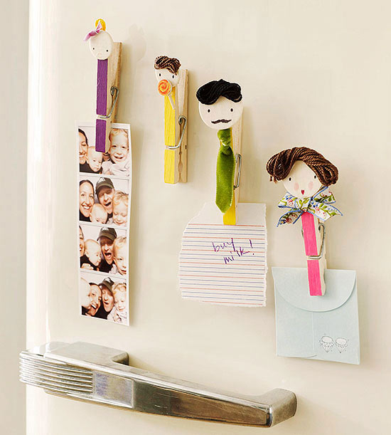 Friendly-face magnetic clothespin clips