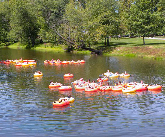 Red tubes on river