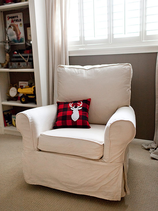Chair with red and black pillow