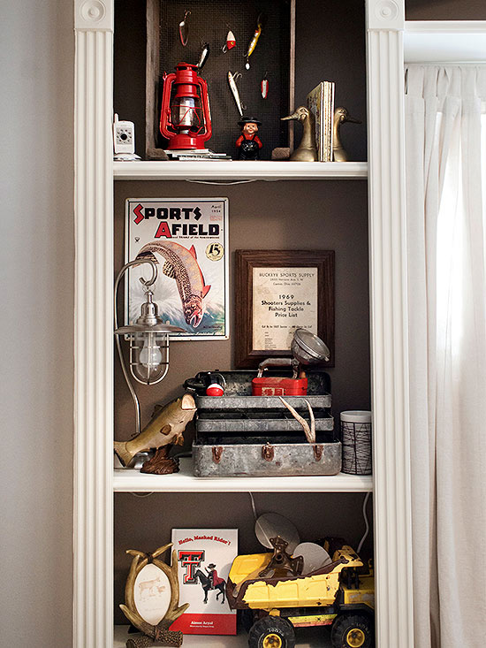 Cabinet of vintage outdoor items