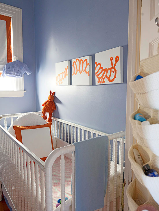 Orange caterpillar wall art
