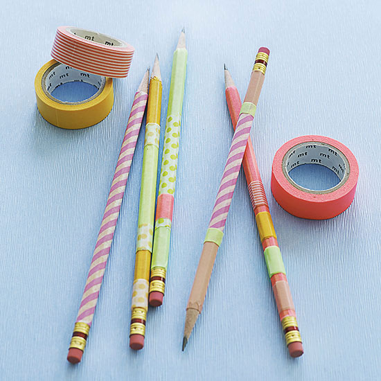 Pencils covered in tape and tape rolls