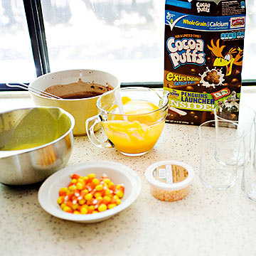 Candy Corn Parfait ingredients