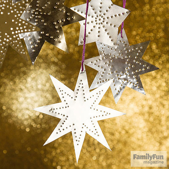 Punched silver star ornaments
