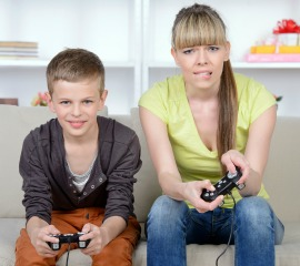 Mom and Son Playing Video Games