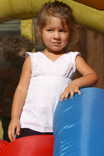 Toddler at bounce house