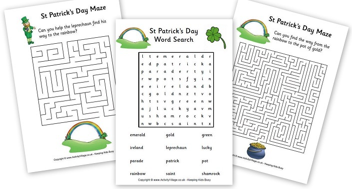 St Patricks Day Puzzles Mazes - Activity Village