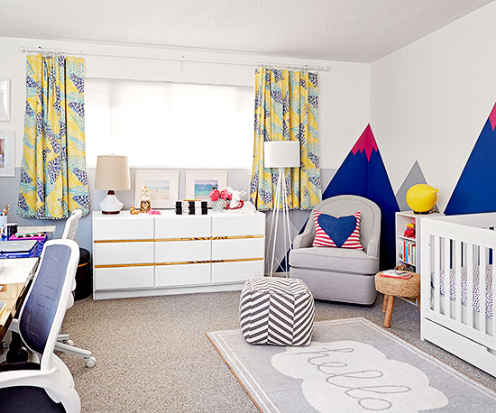 DIY How to combine a baby nursery and office with desks