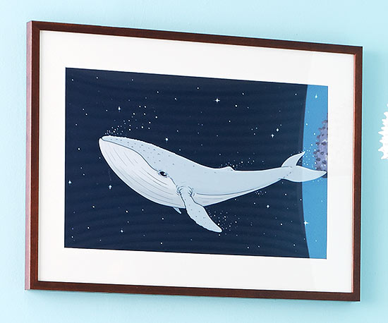 Red Bubble Whale Print - Framed
