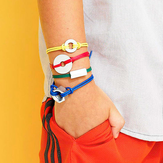 Bracelets made of cord and hardware