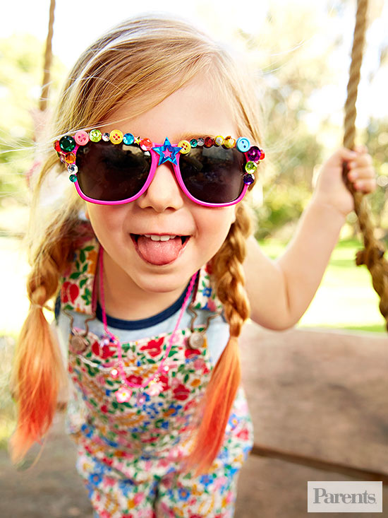Girl with bedazzled sunglasses