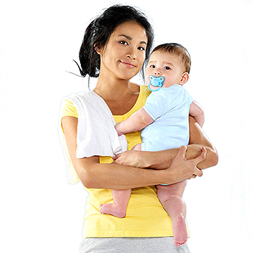 Mother holding baby