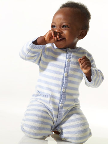 baby boy in striped romper