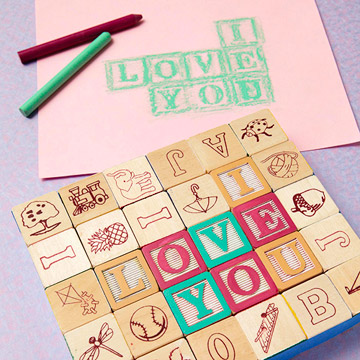Letter blocks and card