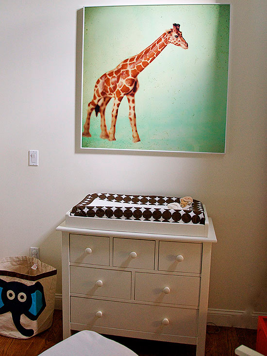 Changing table with giraffe artwork