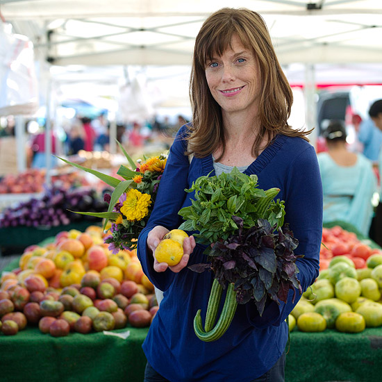 Woman holding produce