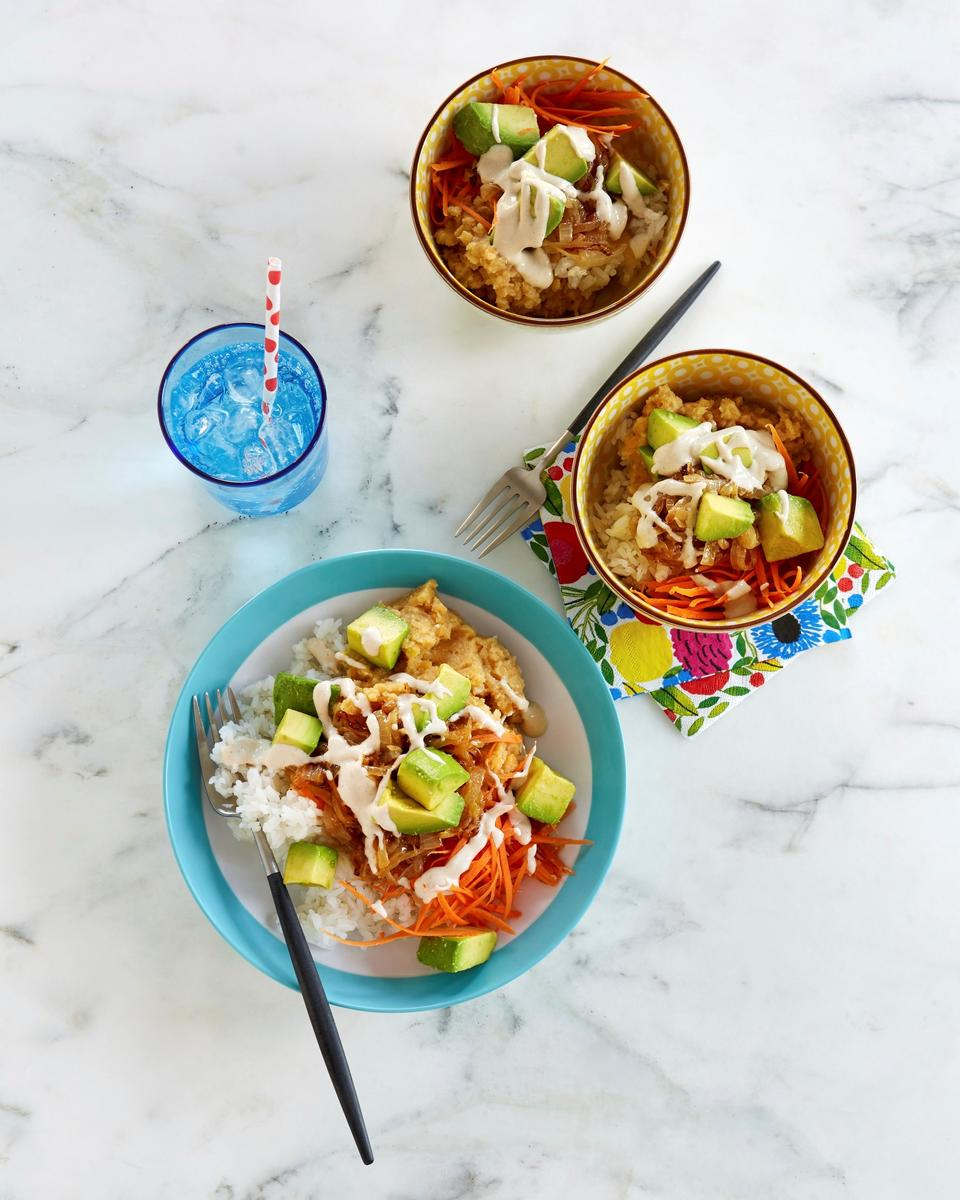 Jasmine Rice and Red Lentil Bowls With Tahini Sauce