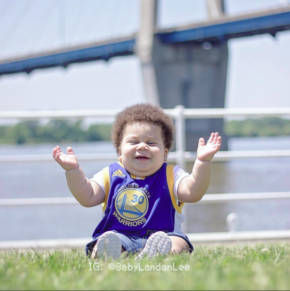 baby landon lee in warriors jersey