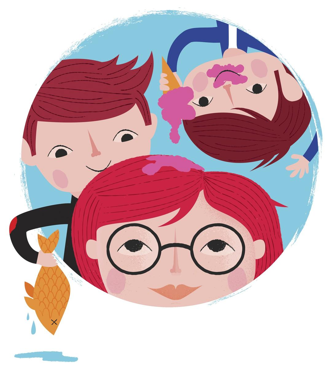 Illustrated Mom With Two Sons