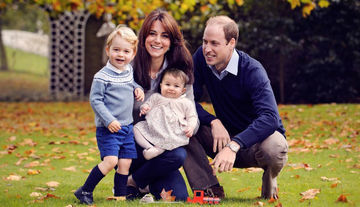 Royal family portrait Christmas card with Duke William, Duchess Kate, Prince George, and Princess Kate.