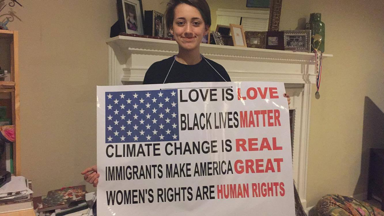 Isabella Gonzalez With Her Protest Sign