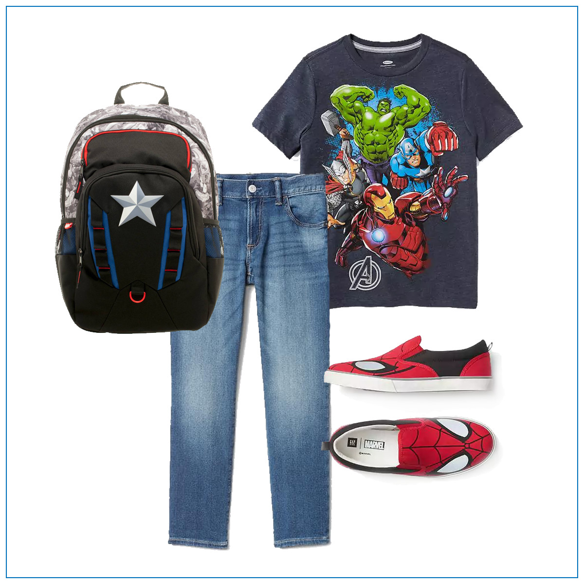 Jeans with a graphic t-shirt and Spiderman shoes