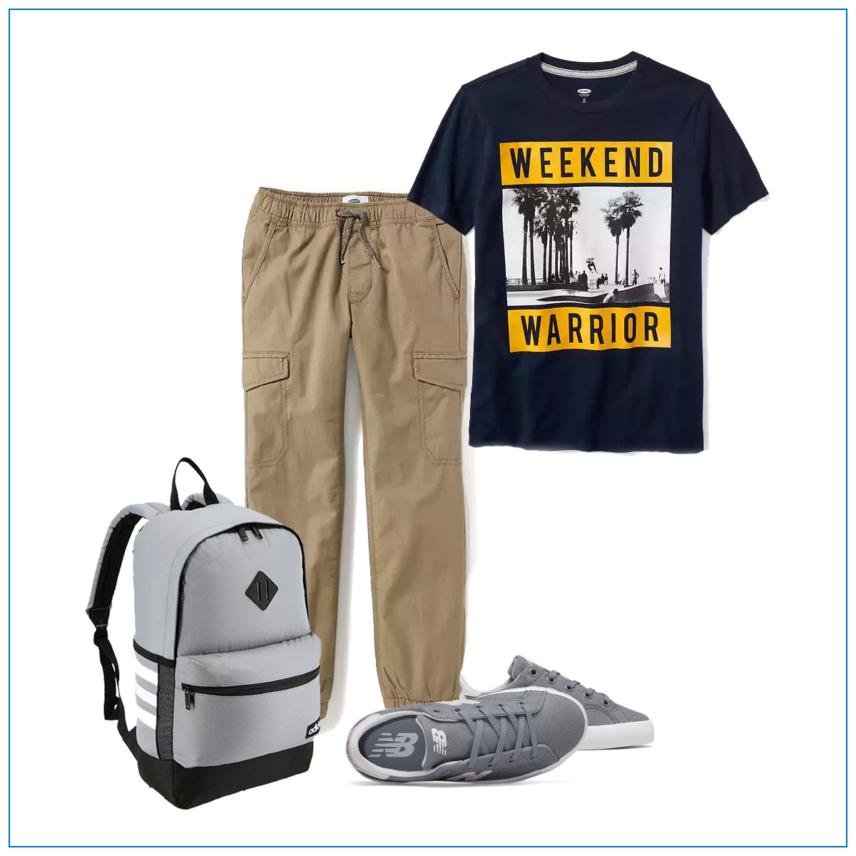 Jogger khakis with a graphic tee and sneakers