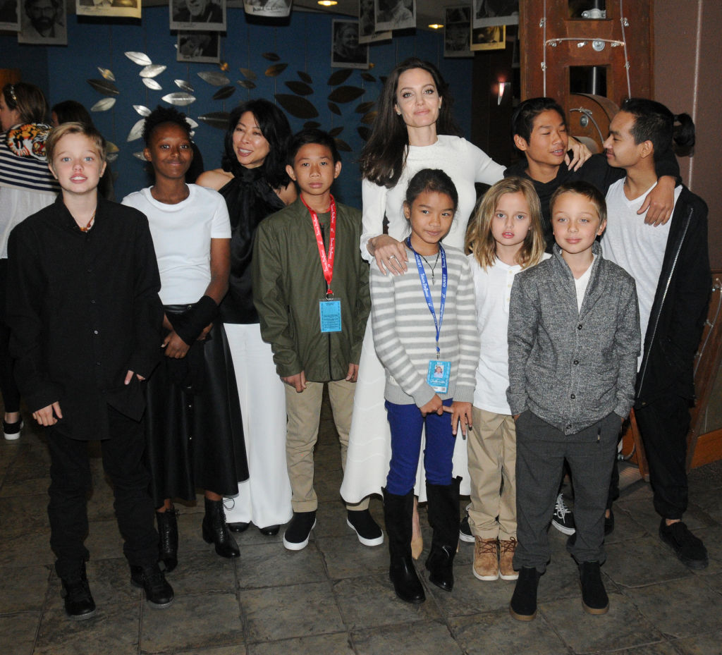 Angelina with her kids at movie premiere