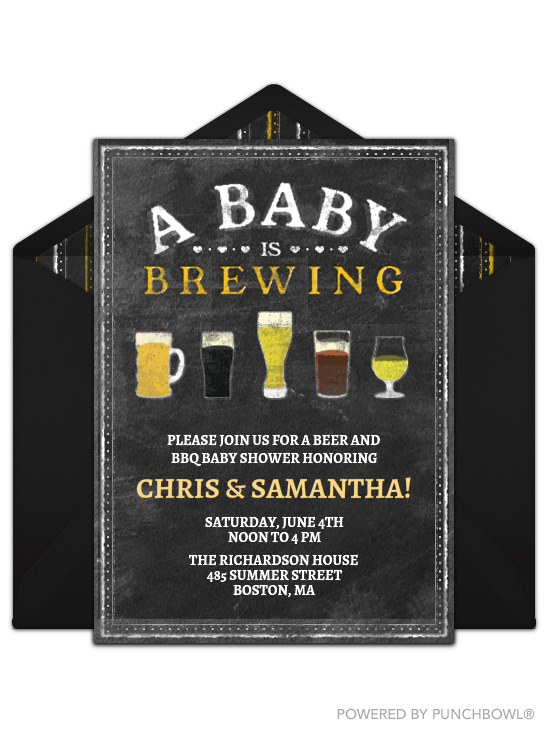 A Baby Is Brewing Invite