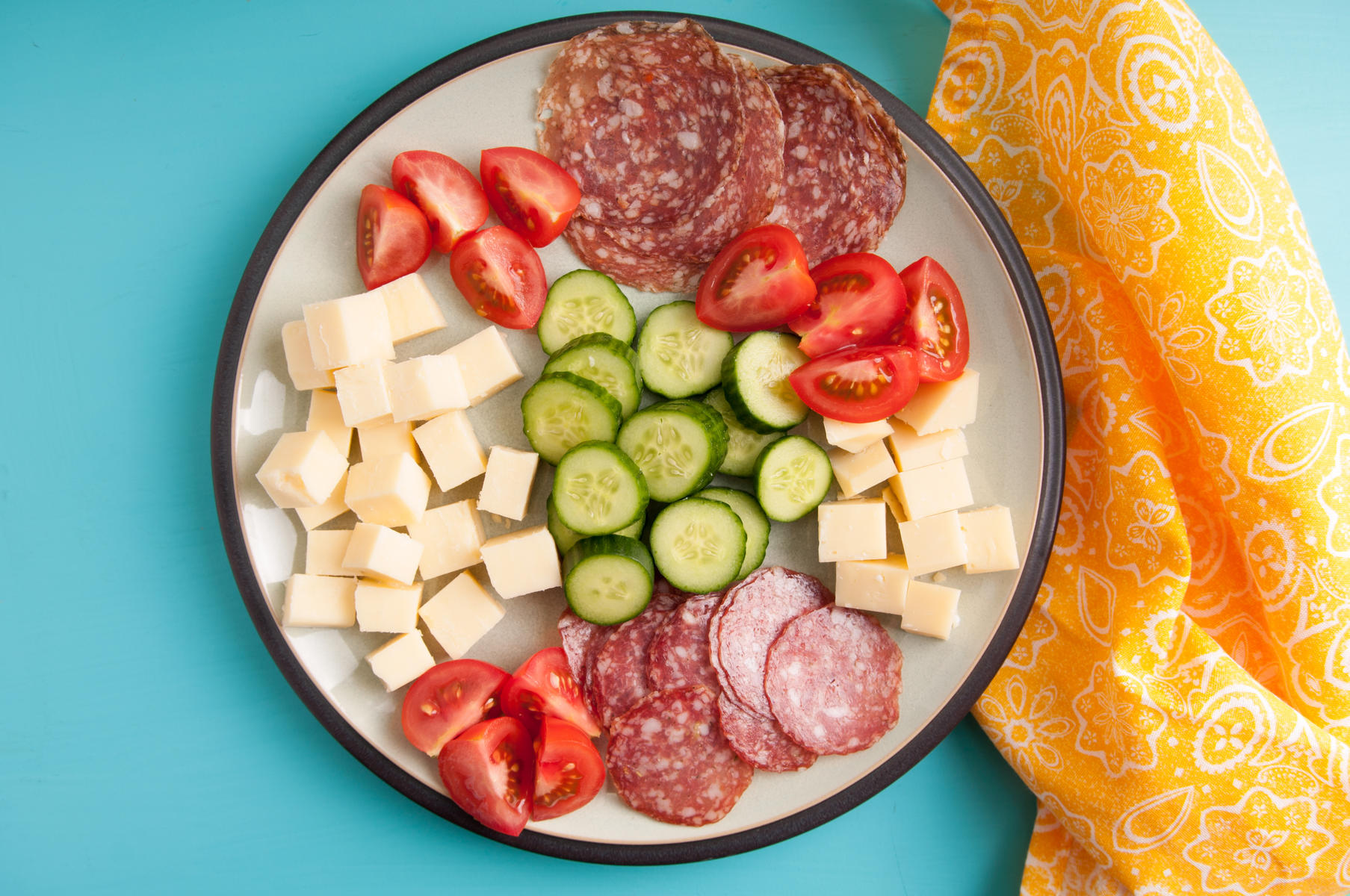 Cheese Meat Vegetable Platter Ketogenic Diet Lunch