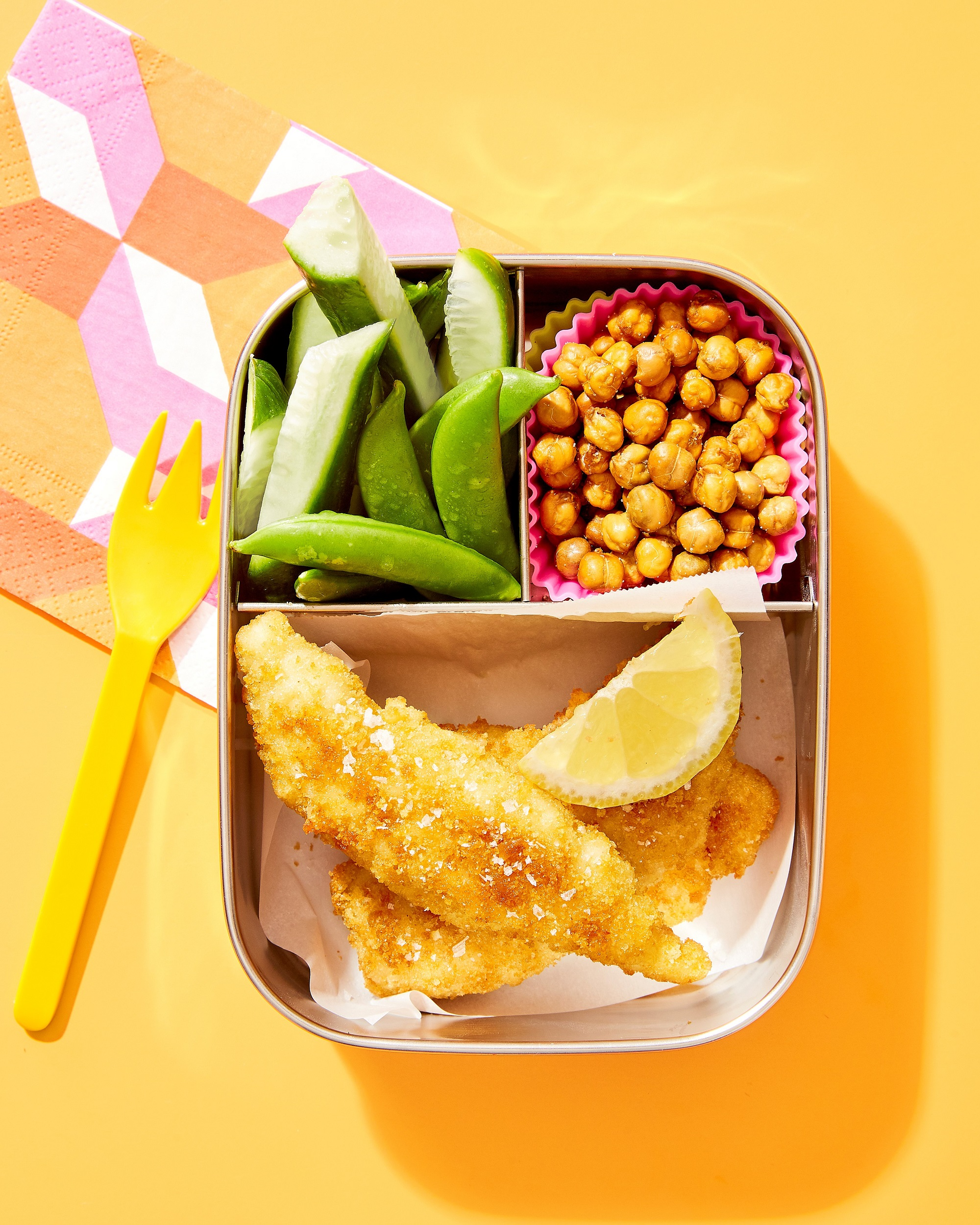 Lunchbox Food Divided Yellow Background