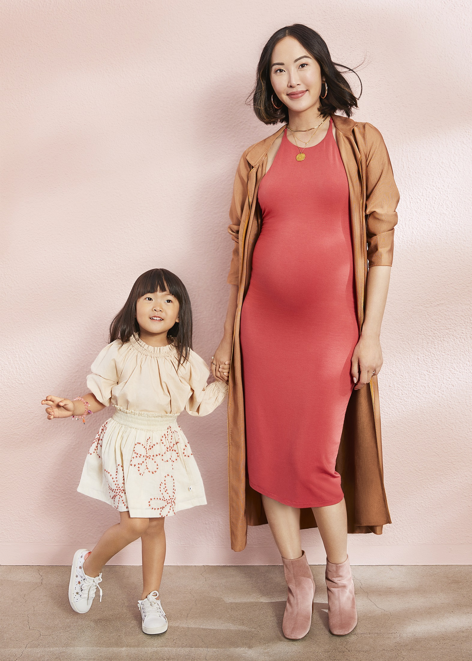 Chriselle Lim Long Coral Bodycon Dress and Daughter