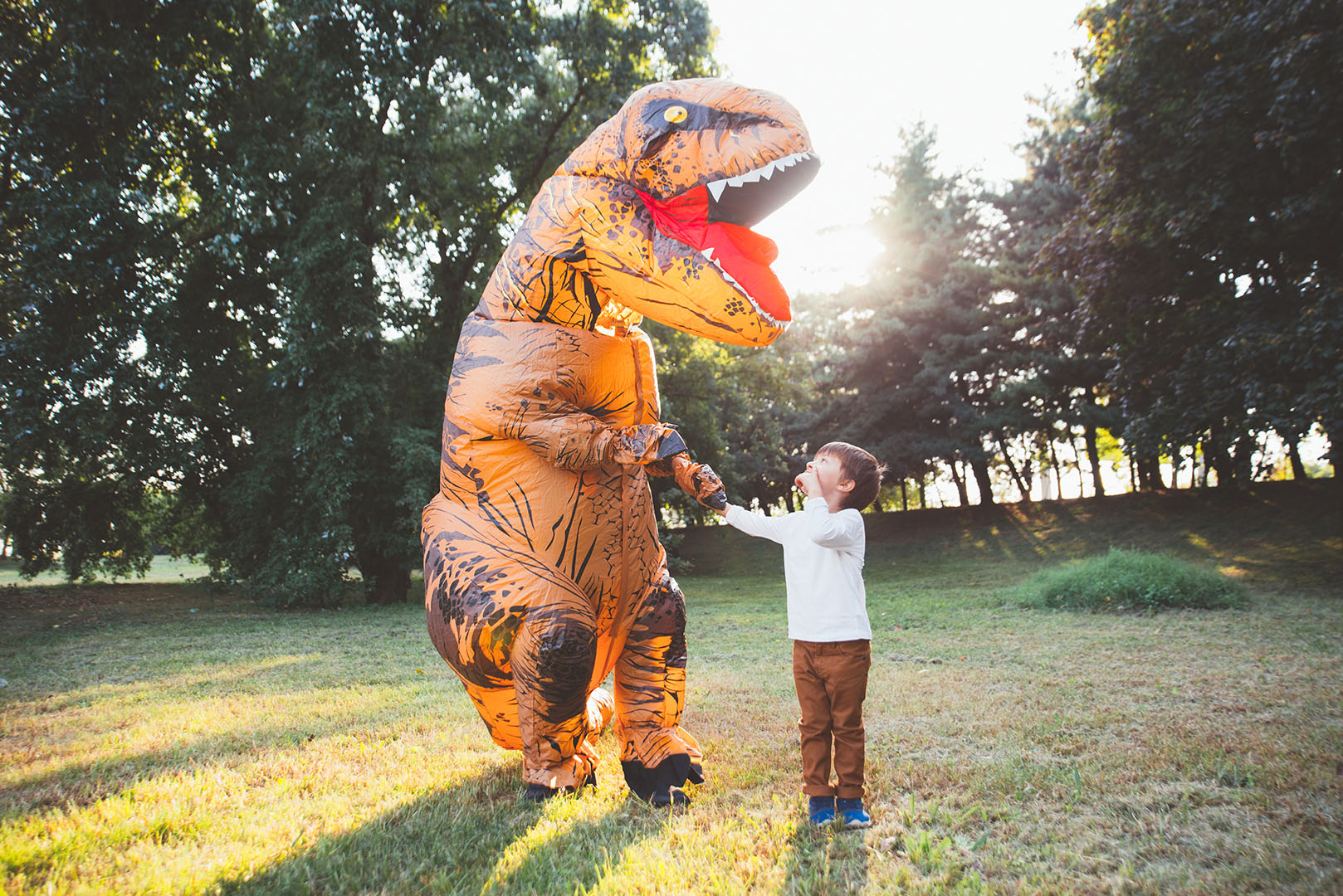 T-Rex costume and little boy