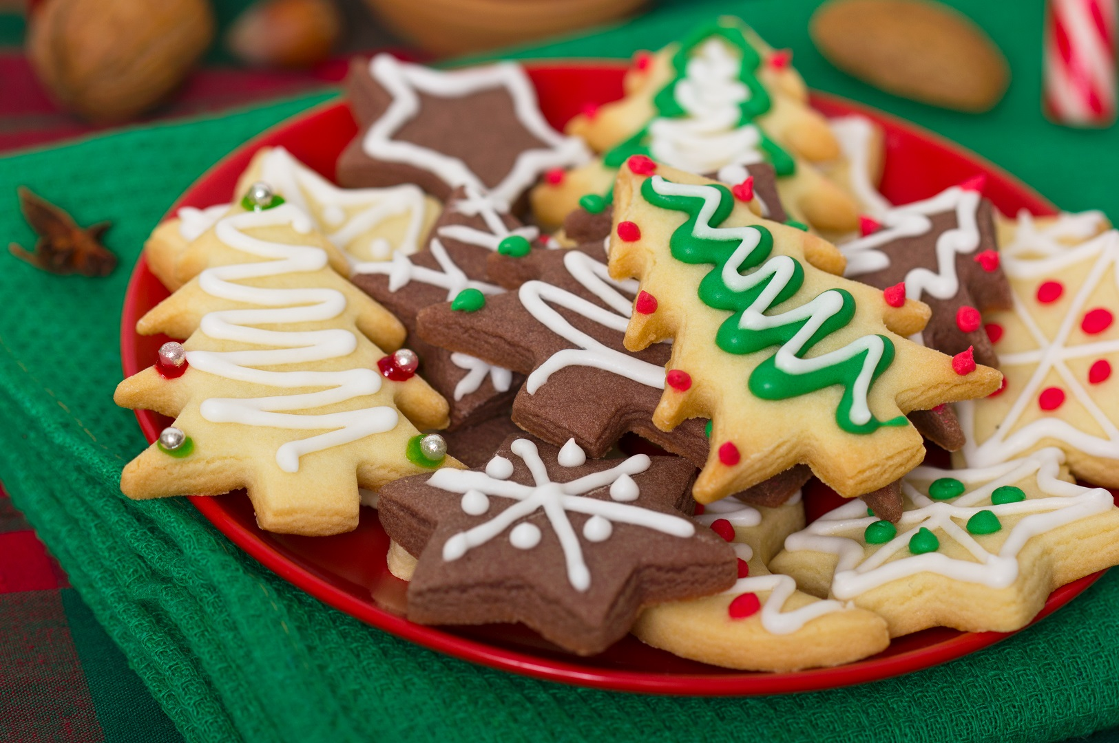 Holiday Christmas Sugar Cookies with Frosting on Plate