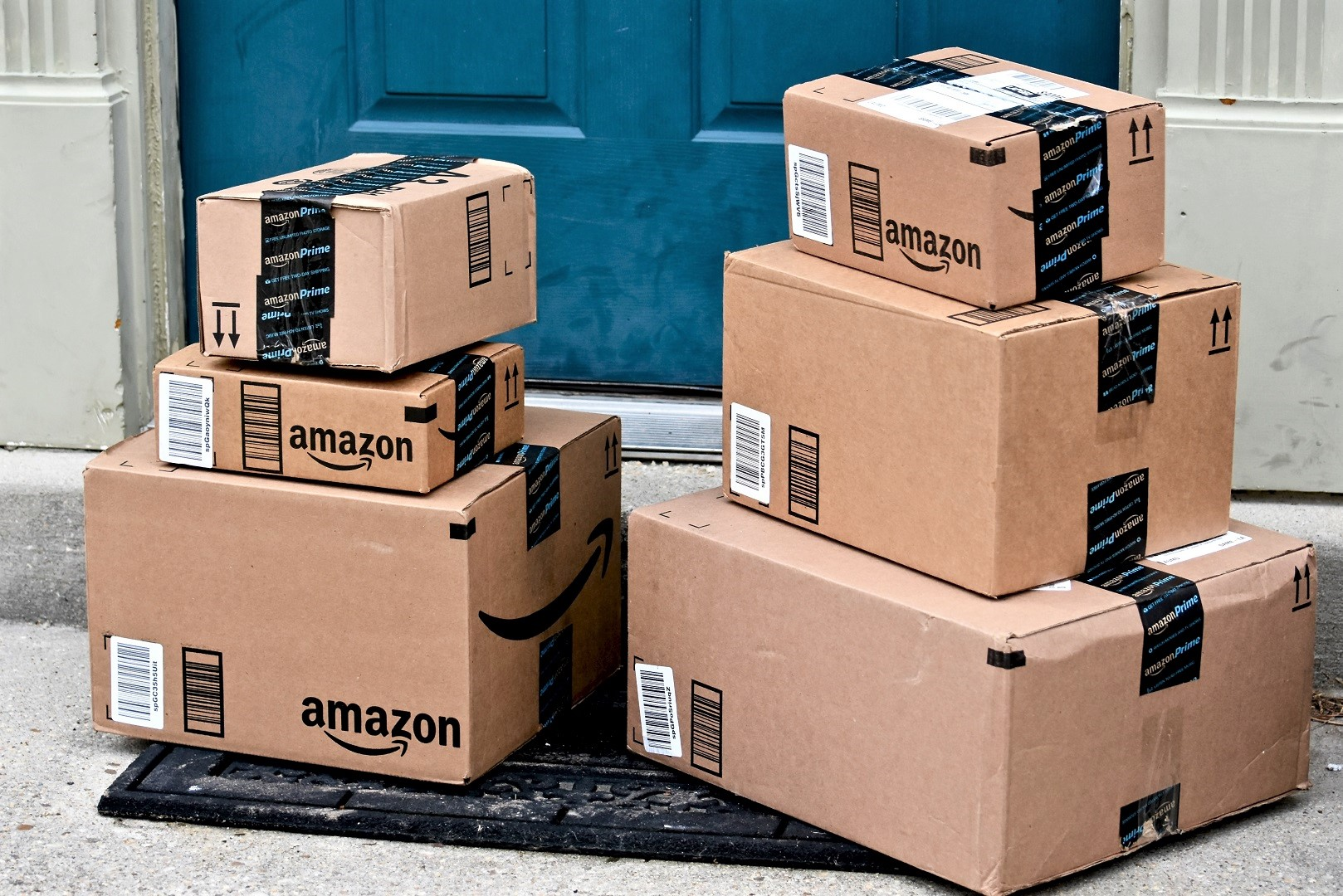 Amazon Boxes Delivery on Door Step