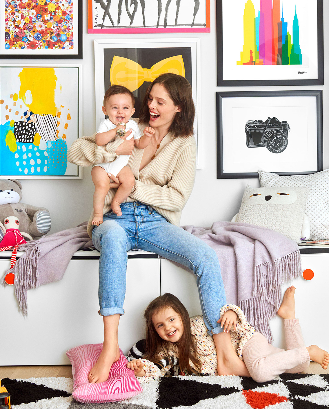 Coco Rocha in nursery with Ioni and Iver