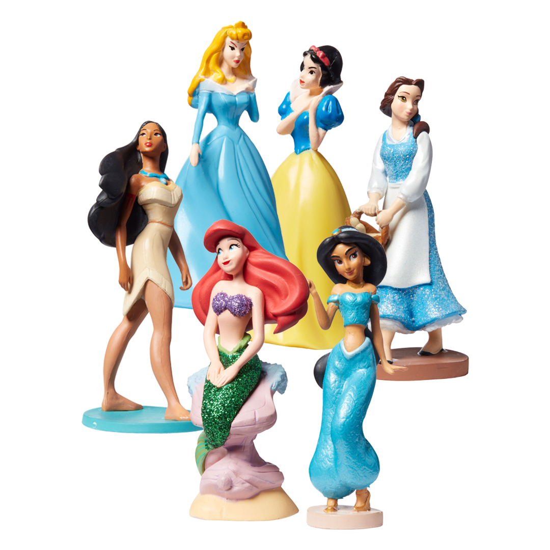 princess figurines in a circle collage