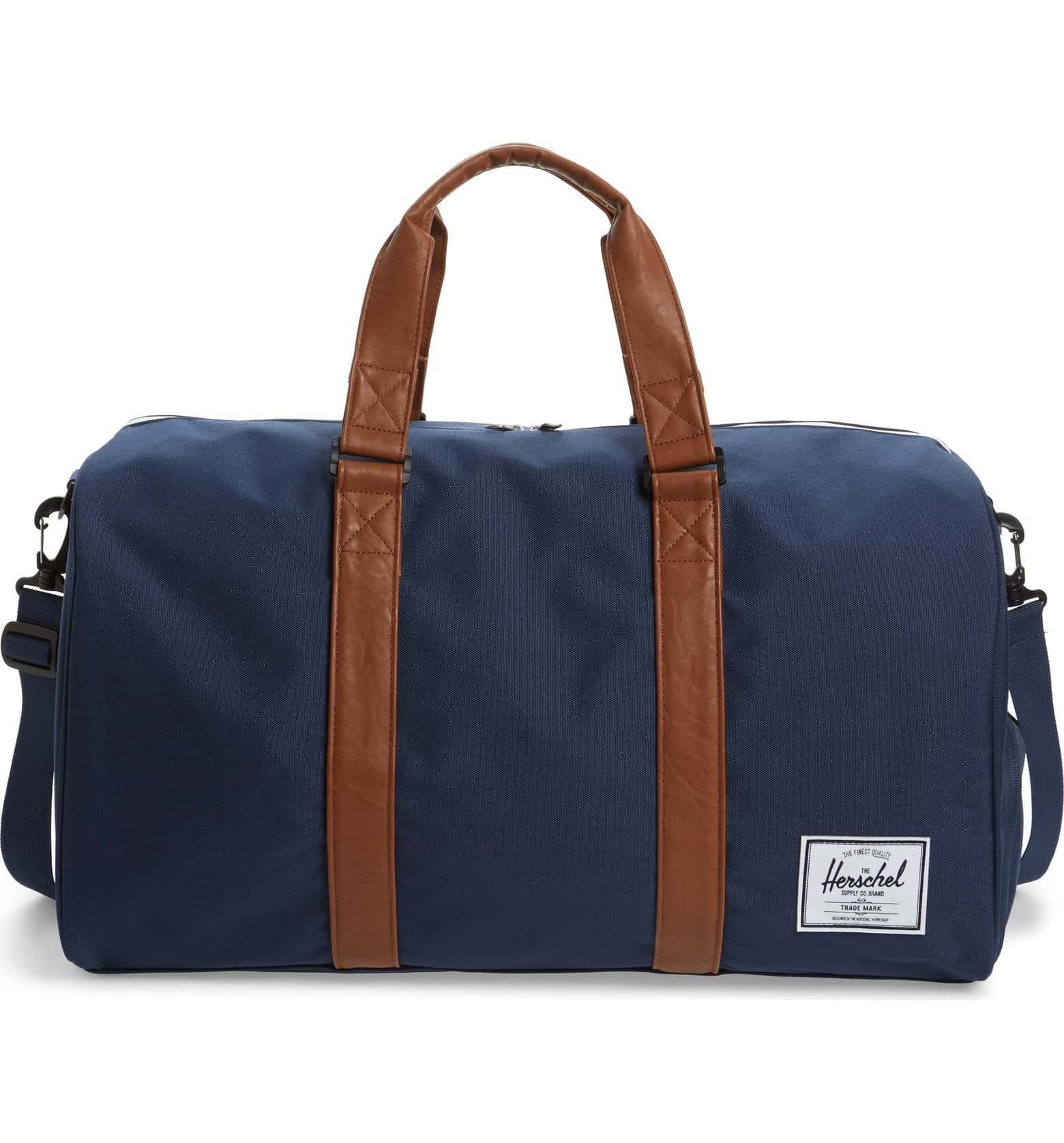 Navy and Brown Novel Duffel Bag