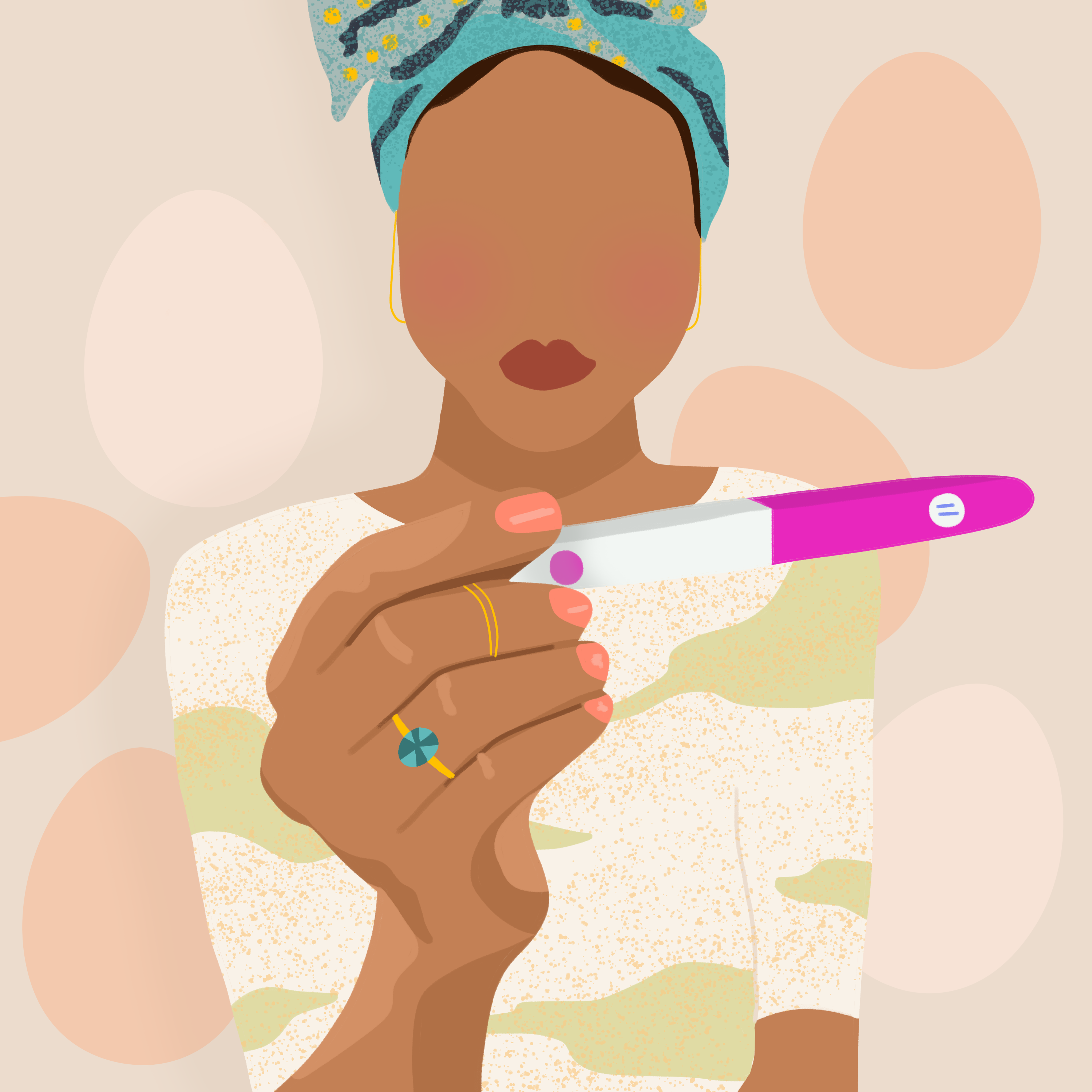 Illustration of woman looking at pregnancy test