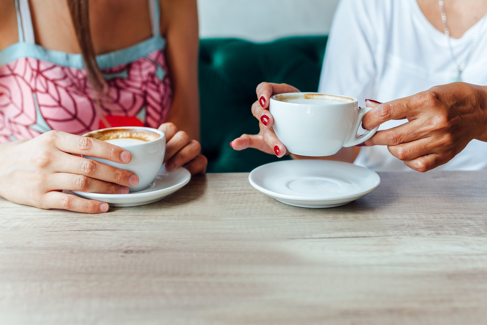 Mother Daughter Hands Holding White Mugs Drinking Coffee