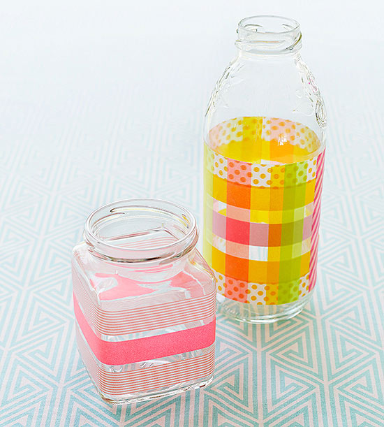 Bottle and jar covered in tape