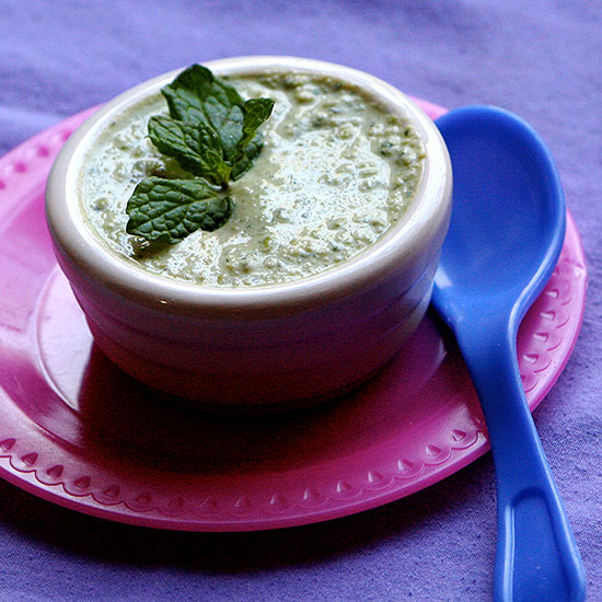 Baby Food with Herbs and Spices - Minty pea puree