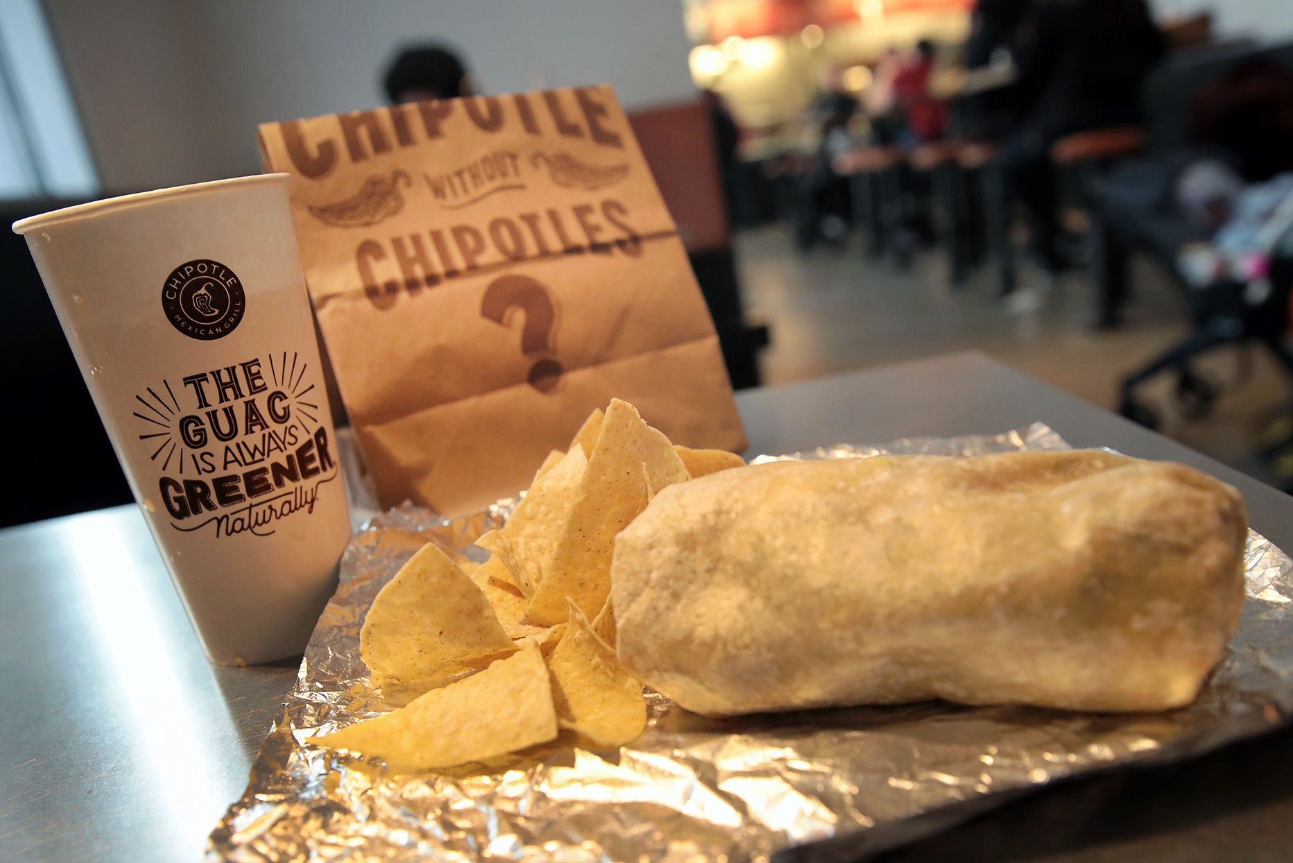 Chipotle Burrito Chips and Drink