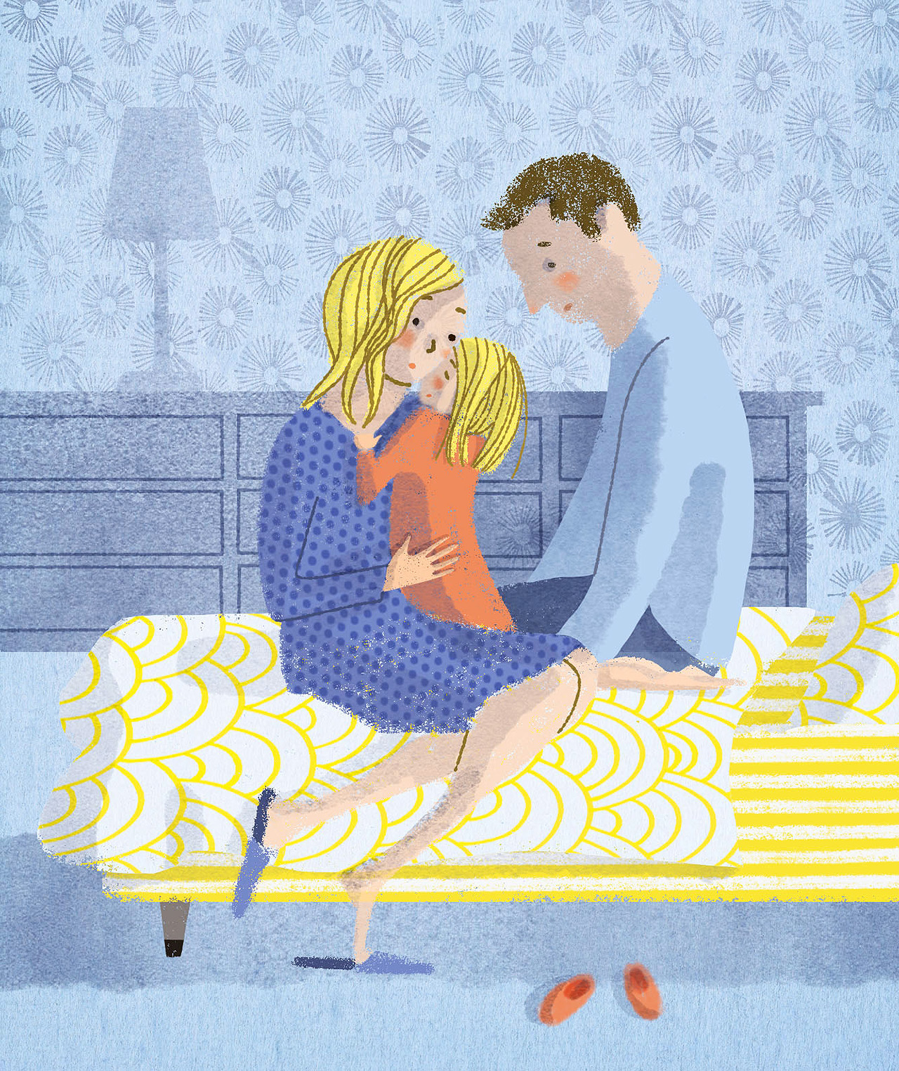 family comforting anxious child illustration